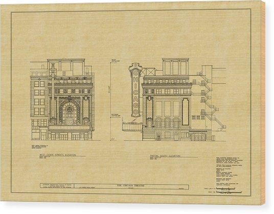 Chicago Theatre Blueprint 2 Wood Print