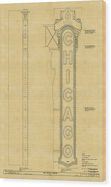 Chicago Theatre Blueprint Wood Print