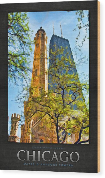 Chicago Water And Hancock Towers Poster Wood Print