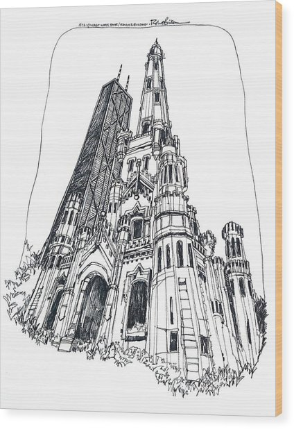 Chicago Water Tower And Hancock Bldg Wood Print