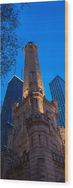 Chicago Water Tower Panorama Wood Print