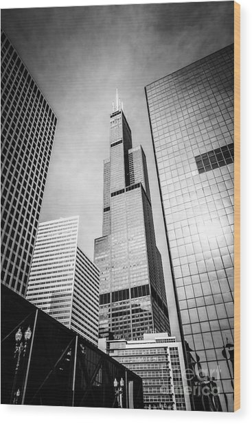 Chicago Willis-sears Tower In Black And White Wood Print