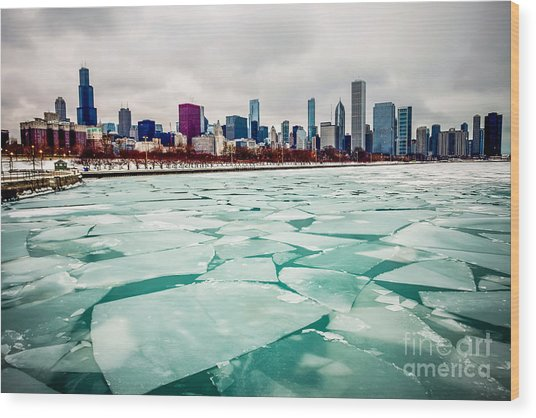 Chicago Winter Skyline Wood Print