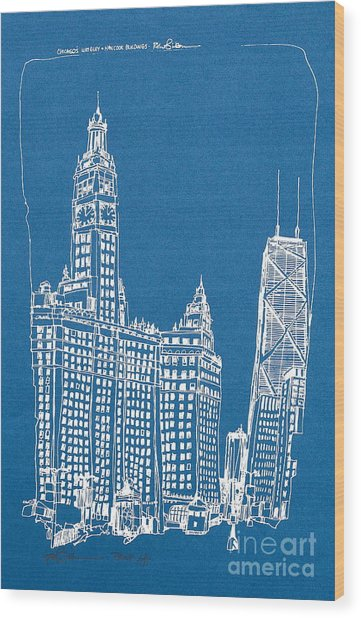 Chicago Wrigley And Hancock Bldgs Silkscreen Print Wood Print