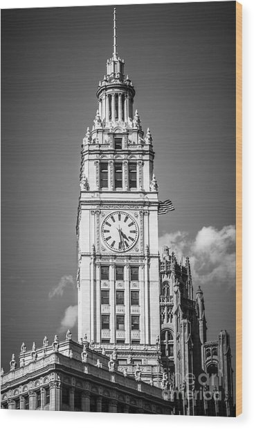 Chicago Wrigley Building Clock Black And White Picture Wood Print