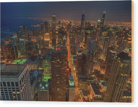 Chicagos Magnificent Mile Wood Print