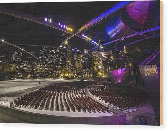 Chicago's Pritzker Pavillion With Colored Lights  Wood Print