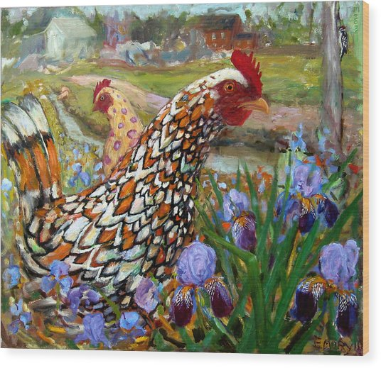 Chick And Iris Wood Print