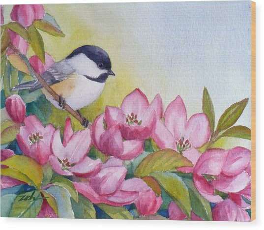 Chickadee And Crabapple Flowers Wood Print