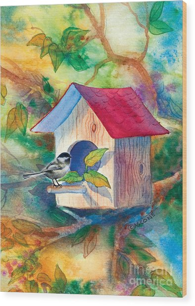 Chickadee Bungalow Wood Print