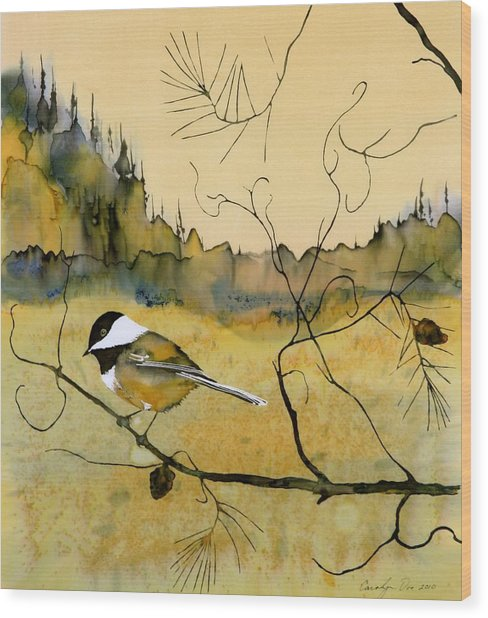Chickadee In Dancing Pine Wood Print