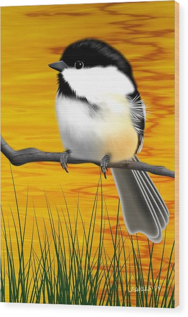 Chickadee On A Branch Wood Print