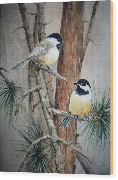 Chickadee Pair Wood Print