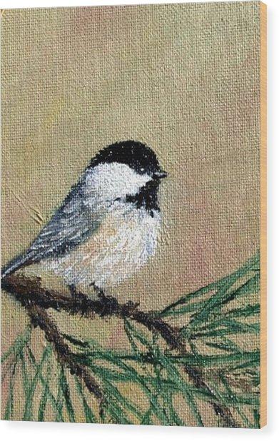 Chickadee Set 17 Bird 1 Detail Print Wood Print