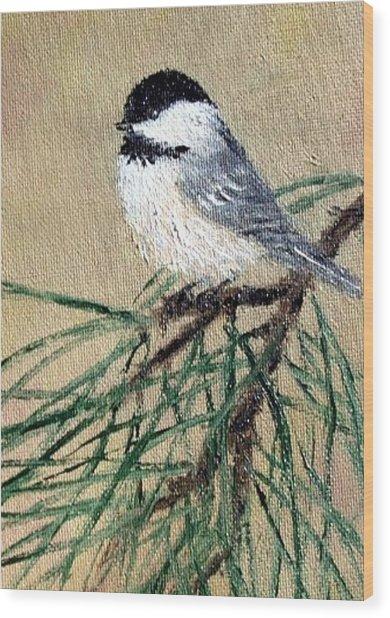 Chickadee Set 17 Bird 2 Detail Print Wood Print