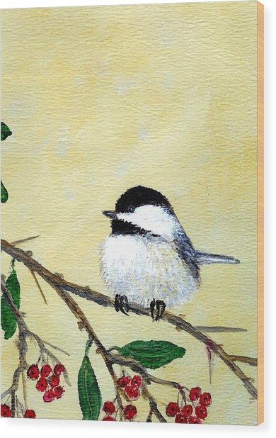 Chickadee Set 4 - Bird 2 - Red Berries Wood Print