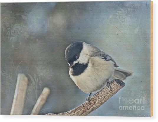 Chickadee With Texture Wood Print