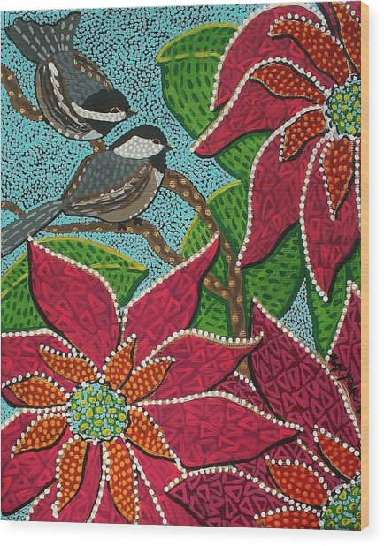Chickadee's At Winter Time Wood Print