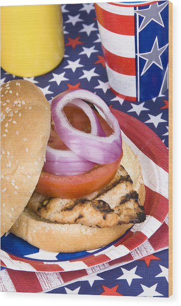 Chicken Burger On Fourth Of July Wood Print by Joe Belanger