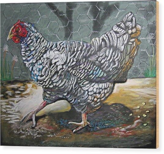 Chicken In The Pen Wood Print
