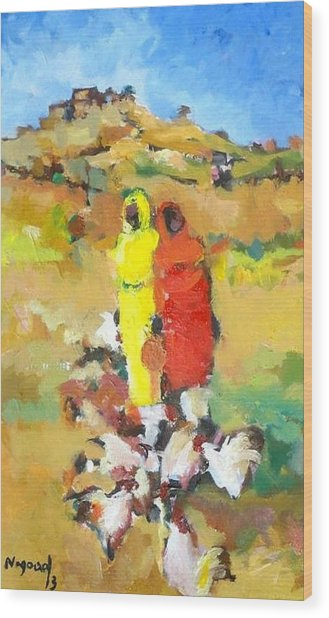 Chicken  Wood Print by Negoud Dahab