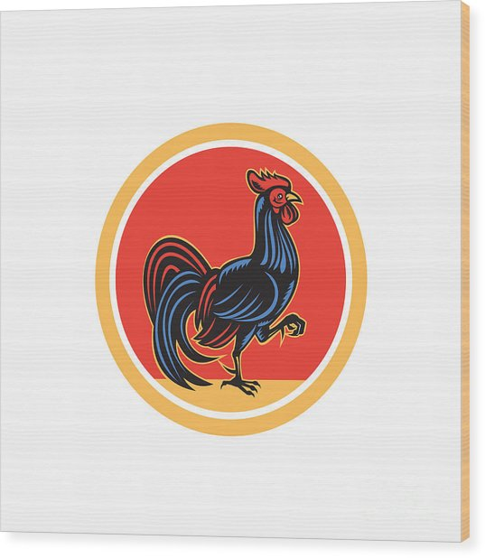 Chicken Rooster Marching Walking Circle Retro Wood Print by Aloysius Patrimonio