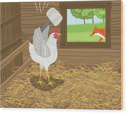 Chicken With A Mallet Waits For  A Fox Wood Print by Diane Labombarbe