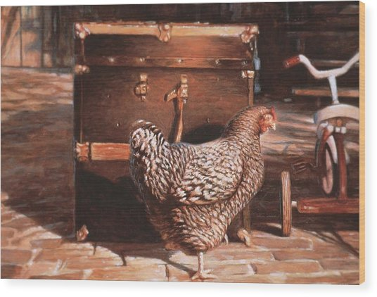 Chicken With Trunk Wood Print