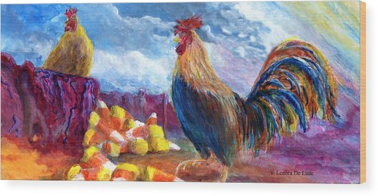 Chickens And Candy Corn Wood Print