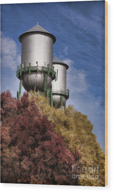 Chico Water Towers Wood Print