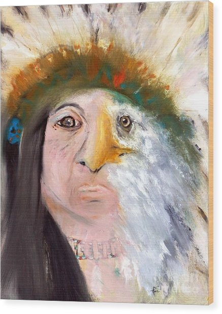 Chief Black Eagle Wood Print