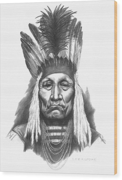 Chief Curly Bear Wood Print