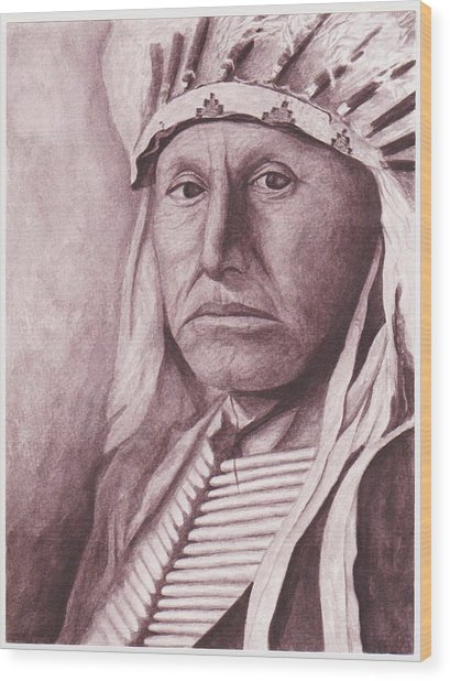 Chief Red Tomahawk Wood Print by Billie Bowles