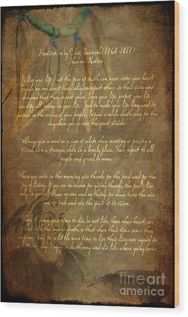 Chief Tecumseh Poem Wood Print