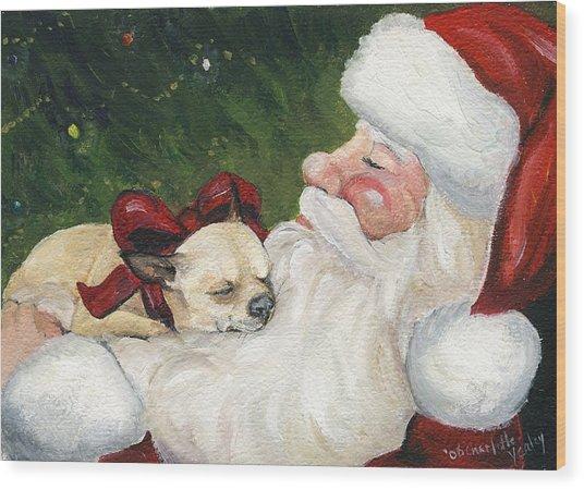 Chihuahua's Cozy Christmas Wood Print