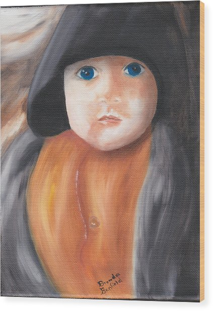 Child With Hood Wood Print