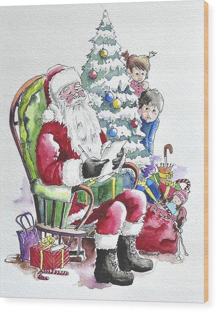 Childre Sneaking Around Santa Wood Print