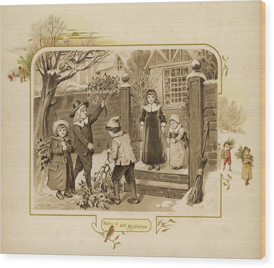 Children Arrive Home And Proudly Wood Print by Mary Evans Picture Library