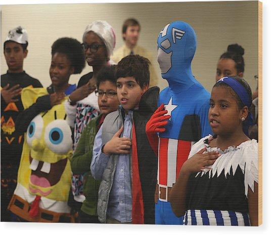Children Attend Halloween-themed U.s. Citizenship Ceremony In Baltimore Wood Print by Mark Wilson