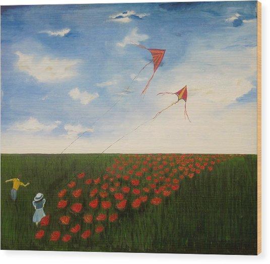 Children Flying Kites Wood Print by Rejeena Niaz
