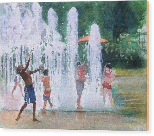 Children In Fountains II Wood Print