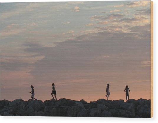Children Paying At Sunset Time Wood Print by Carolyn Reinhart