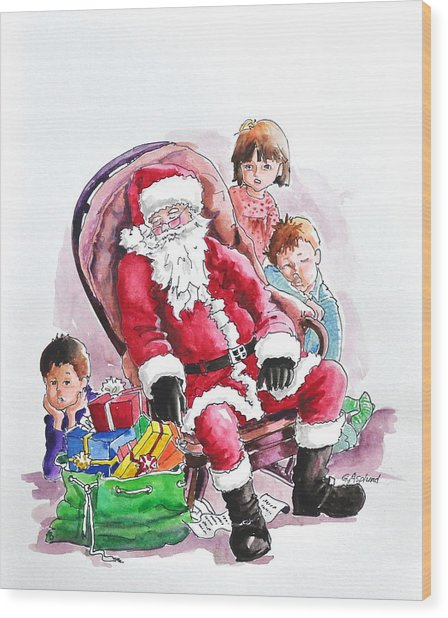 Children Patiently Waiting Up For Santa. Wood Print