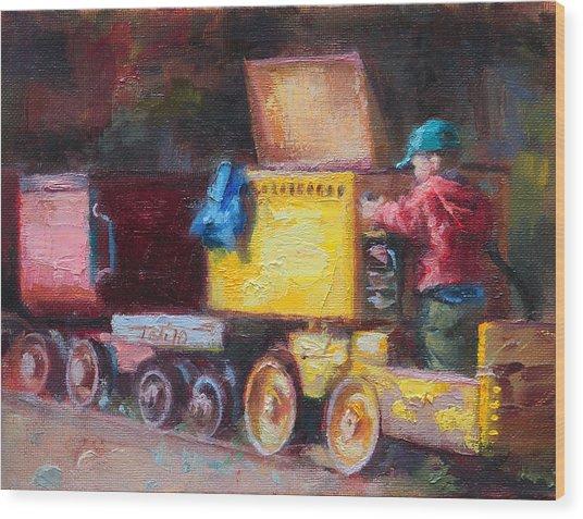 Child's Play - Gold Mine Train Wood Print