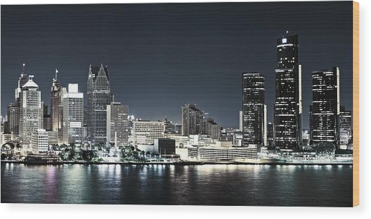 Chilled Detroit Skyline  Wood Print