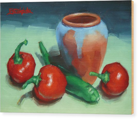 Chilli Peppers And Pot Wood Print