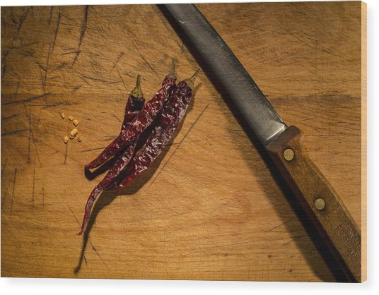 Chilli Peppers Wood Print by Andrew Pacheco