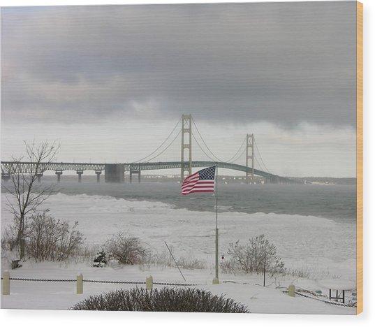 Chilly Mackinac Bridge Wood Print