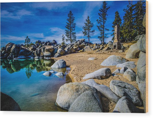 Chimney Beach Lake Tahoe Wood Print