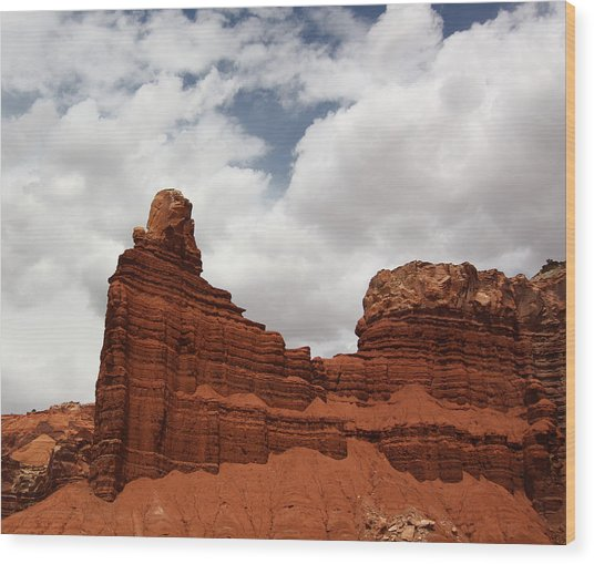 Chimney Rock In Capitol Reef National Park In Utah Wood Print